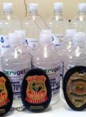 PCCE apreende frascos de álcool em gel com suspeita de adulteração em Morada Nova