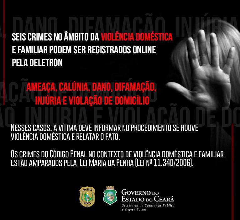 Seis crimes no âmbito da violência doméstica e familiar podem ser registrados online