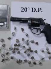 Suspeito é preso em flagrante pela Polícia Civil por tráfico de drogas e um revólver é apreendido durante a ação